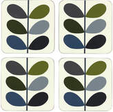 Orla Kiely Multi Stem Coasters - Marine Khaki - Set of 4