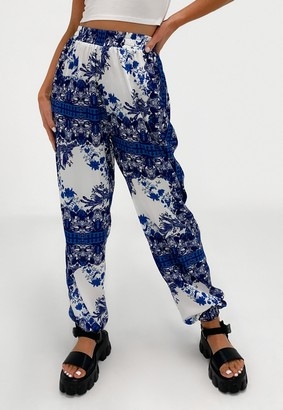 Missguided Tall Blue Porcelain Elasticated Hem Trousers