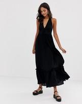 Asos Design DESIGN halter maxi dress with lace up