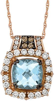 LeVian Le Vian 14K Rose Gold 1.66 Ct. Tw. Diamond & Aquamarine Necklace