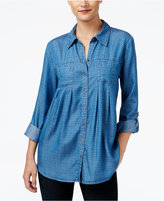 Style&Co. Style & Co Petite Dot-Print Denim Shirt, Only at Macy's