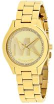 Michael Kors Mini Slim Runway MK3477 Women's Gold-Tone Watch with Crystal Accents