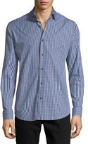 Neiman Marcus Gingham Long-Sleeve Sport Shirt, Blue/Gray