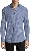 Neiman Marcus Gingham Long-Sleeve Sport Shirt, Blue/Gray