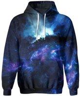 SAYM Unisex Simulation Printing Galaxy Pocket Hooded Sweatshirt 29 XXL