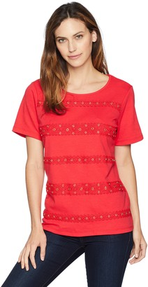 Alfred Dunner Women's lace Grommet Biadere tee Shirt