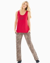 Soma Intimates Tank Pajama Set Jaguar Mini Neutral Ruby