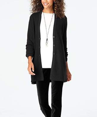 J. Jill J.Jill Women's Cardigans BLACK - Black Easy Ribbed V-Neck Cardigan - Women