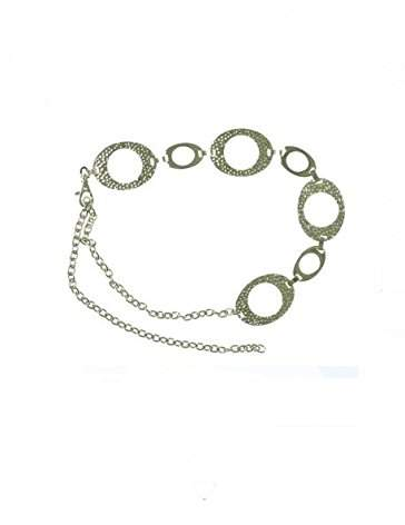 Style&Co. Style & Co. Styleco. Oval Hammered Chain Belt Silver Med Large (Med Large)