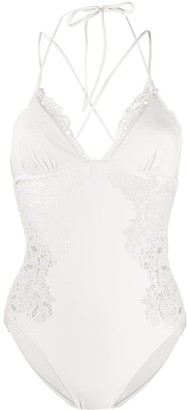 Ermanno Scervino Macrame Lace-Panel Swimsuit