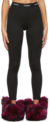 Vetements Black Long Logo Leggings