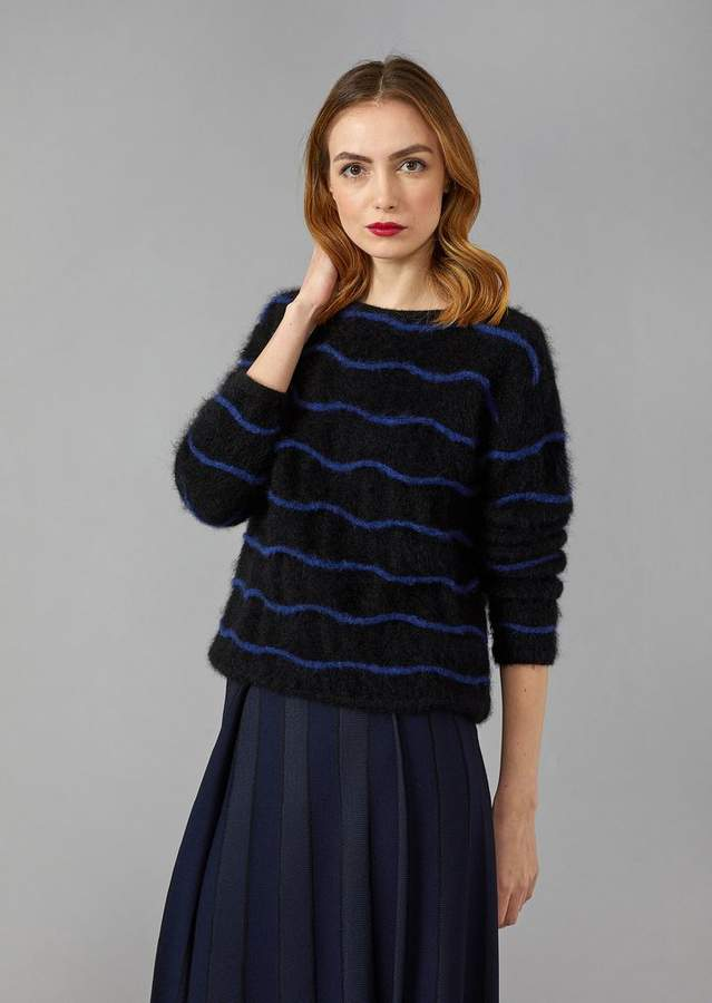 Giorgio Armani Sweater In Reverse Knit Mohair And Alpaca