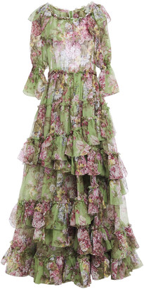 Dolce & Gabbana Tiered Ruffled Floral-print Silk-organza Gown