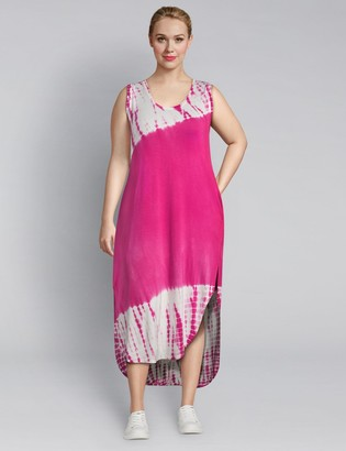 Lane Bryant LIVI Tie-Dye Maxi Dress With Crossover Back Detail