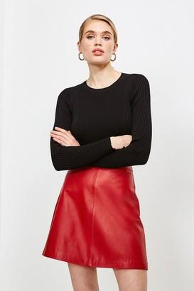 Karen Millen Long Sleeve Knitted Rib Top