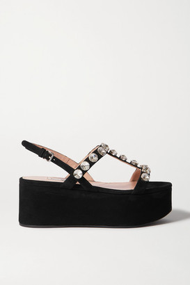 Miu Miu Crystal-embellished Suede Platform Sandals - Black