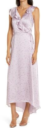 WAYF The Sylvia Sleeveless Ruffle High/Low Wrap Dress