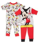 AME Sleepwear Baby's Four-Piece Mickey Mouse Pajama Set
