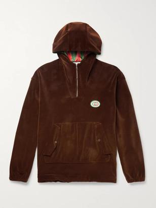 Gucci Oversized Logo-Appliqued Cotton-Blend Velvet Half-Zip Track Jacket - Men - Brown