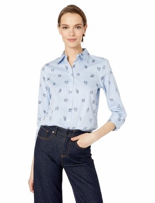 Chaps Women's 3/4 Sleeve Non Iron Cotton Satteen Shirt