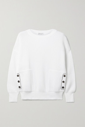 Brunello Cucinelli Bead-embellished Ribbed Cotton Sweater - White