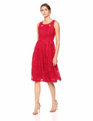 Gabby Skye Women's Crochet Lace Fit and Flare Dress