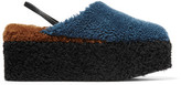 Fendi Shearling Platform Slippers - Blue