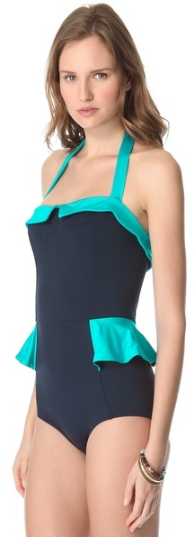 Marc by Marc Jacobs Colorblock Peplum One Piece Swimsuit