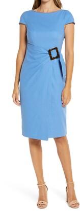 Brinker & Eliza Faux Wrap Linen Blend Dress