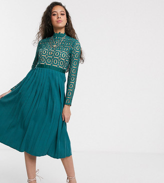 Little Mistress Petite midi length 3/4 sleeve lace dress in kingfisher