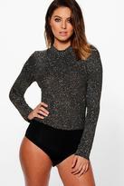 Boohoo Eloise High Neck Long Sleeve Glitter Bodysuit