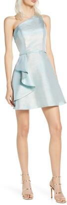 Mac Duggal Ieena for  One-Shoulder Ruffle Metallic Party Dress