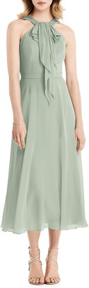 Jenny Packham Halter Neck Chiffon Midi Dress