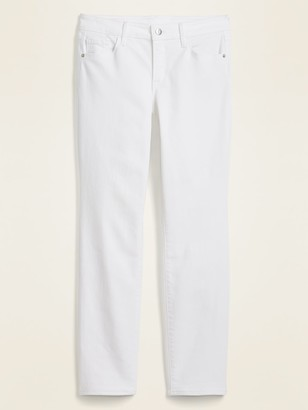 Old Navy Mid-Rise Power Slim Straight White Jeans for Women