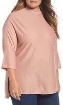 Melissa McCarthy Plus Size Women's Mock Neck Rib Knit Top
