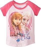 Disney Frozen Little Girls' Toddler Anna and Elsa Girls Short Sleeve Raglan T-Shirt