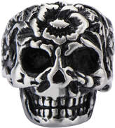 FINE JEWELRY Stainless Steel Flower Skull Ring