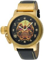 Christian Audigier Unisex ETE-103 Eternity Gold Death Skull Ion-Plating Gold Watch