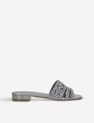 Gina Bern Swarovski crystal-embellished croc-embossed leather sandals