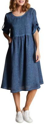Blue Illusion Linen Shift Dress