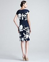 Escada Darenan Cap-Sleeve Floral Print Dress