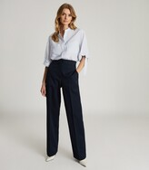 Thumbnail for your product : Reiss Giovanna - Relaxed Grandad Collar Silk Blend Shirt in Blue