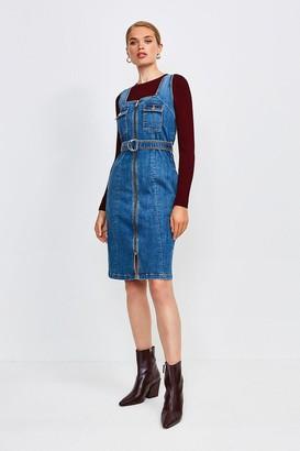 Karen Millen Sleeveless Denim Zip Front Dress