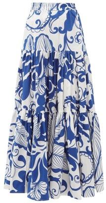 La DoubleJ Floral-print Tiered Cotton-poplin Maxi Skirt - Womens - Blue Print