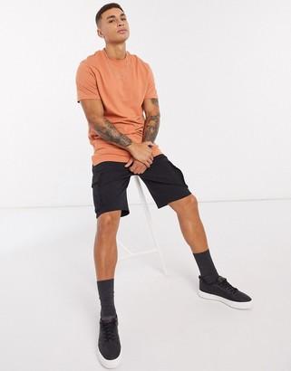 ASOS DESIGN longline t-shirt with side splits in orange