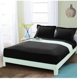 Elegant Comfort Silky Soft Single Fitted Sheet Queen Black Bedding