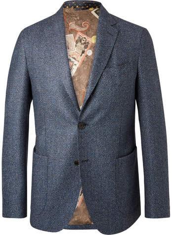 Etro Blue Mélange Wool Blazer