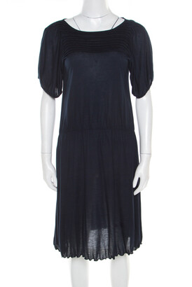 Miu Miu Navy Blue Cotton Jersey Gathered Dress S