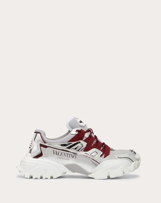 Valentino Climbers Sneaker In Fabric And Calfskin Leather. Women Silver Polyurethane 100% 35.5