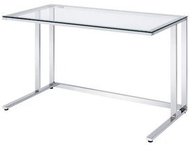Ivy Bronx Tyrese Writing Desk, Clear Glass & Chrome Finish
